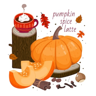 Pumpkin spice latte: coffee cup, large pumpkin, pumpkin slices, cinnamon, clove spice, hazelnut, coffee beans, autumn leaves, wooden decor elements