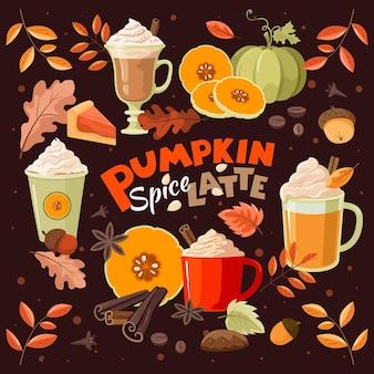 Pumpkin spice latte. cozy, autumn set. vector, isolated.