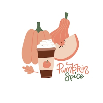 パンプキンスパイスラテホットペーパーコーヒーとクリームシナモン秋のオークの葉のレタリング引用符...