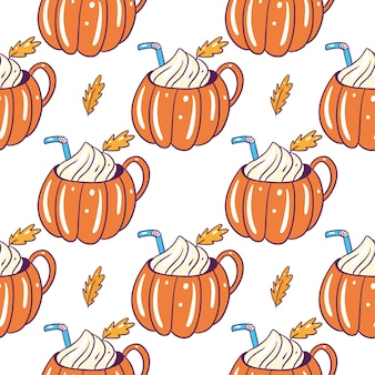 Pumpkin spice latte mug seamless pattern. hand drawn