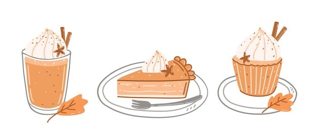 Pumpkin spice latte, piece of pumpkin pie and cupcake with cream cheese