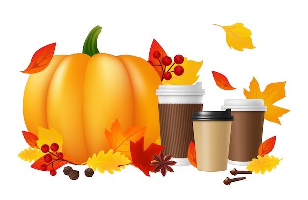 パンプキンスパイスラテ。現実的なコーヒーカップカボチャ紅葉。秋のホットドリンクイラスト