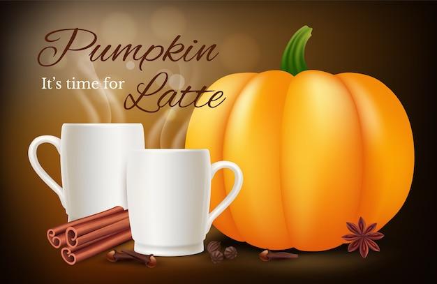 Латте со специями из тыквы. вектор реалистичные кофейные чашки и специи. иллюстрация тыква латте со специями, пить кофе