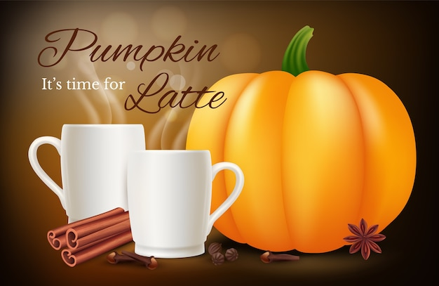 Pumpkin spice latte. vector realistic coffee cups and spices. illustration latte pumpkin with spice, drink coffee