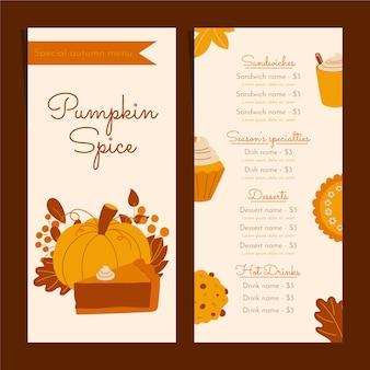 Pumpkin spice menu template