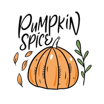 Pumpkin spice modern calligraphy cartoon style