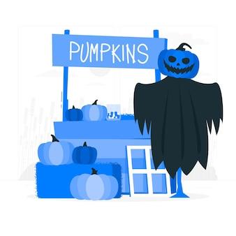 Supporto della zucca per l'illustrazione di concetto di halloween