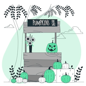 Pumpkin stand for halloween concept illustration