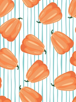 Pumpkin and stripes seamless patterns