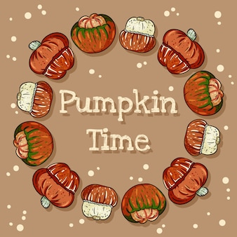 Pumpkin time decorative wreath cute cozy banner with pumpkins.
