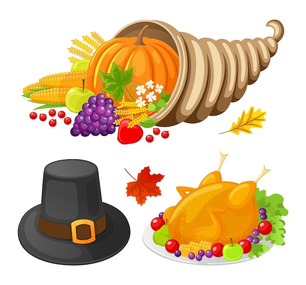 Pumpkin and turkey cooked meat icons set