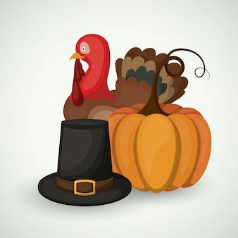 Pumpkin turkey and hat icon
