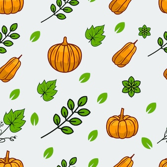 Pumpkin vegetable seamless pattern vector illustration