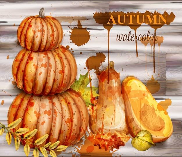 Pumpkin watercolor autumn poster
