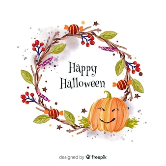 Pumpkin watercolor halloween background