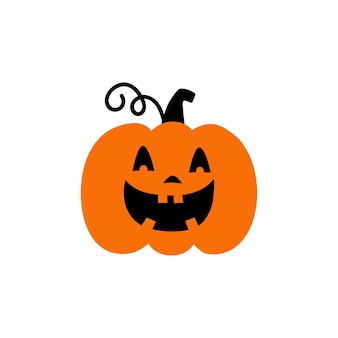 Pumpkin on white background orange pumpkin with smile for your design for the holiday halloween