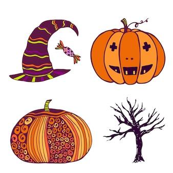 Pumpkin, witch hat, dead tree