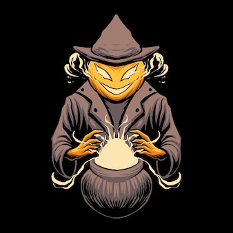 Pumpkin witcher magic illustration