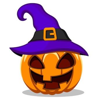 Тыква со страшным лицом в шляпе на белом фоне. хэллоуин.