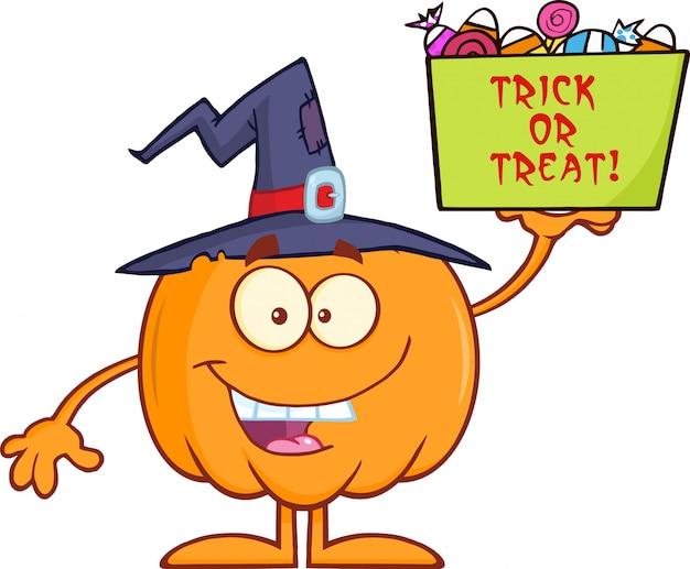 Тыква с шляпой ведьмы держит коробку с конфетами
