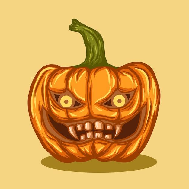 Pumpkin with devil face like pumpkin on halloween event.