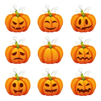 Pumpkin with funny faces. halloween cartoon different