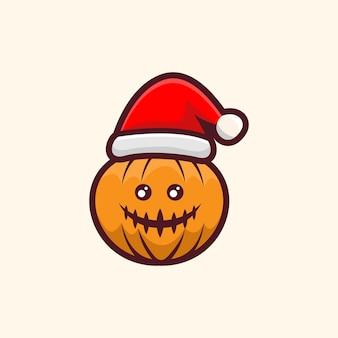 Pumpkin with hat christmas illustration design