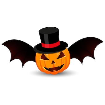 Pumpkin with hat and wings on white background.