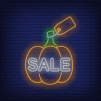 Pumpkin with label neon sign