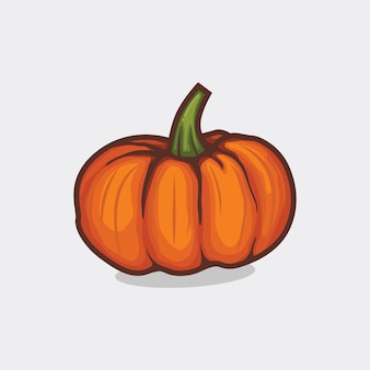 Pumpkin with leaf icon isolated vector illustration with outline cartoon simple color