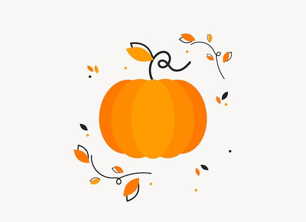 Pumpkin with leaves banner