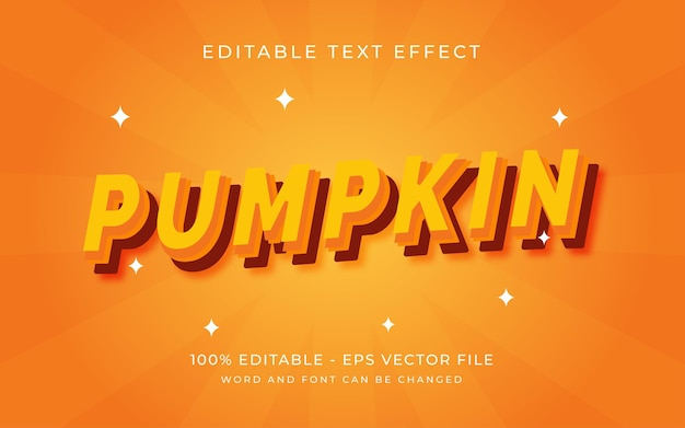 Pumpkin with modern clear style editable text effect