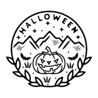 Pumpkin with mountains monoline vintage badge design