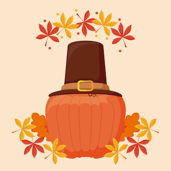 Pumpkin with pilgrim hat of thanksgiving day
