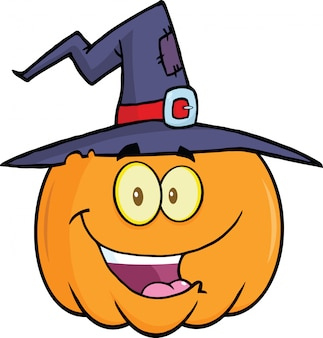 Pumpkin with a witch hat cartoon mascot illustration
