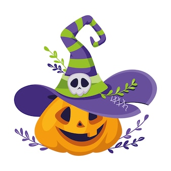 Pumpkin with witch hat for halloween. cartoon vector illustration