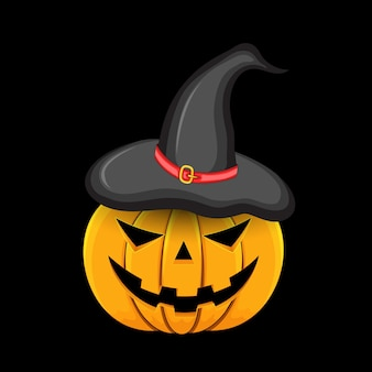 Pumpkin with witch hat on head on black background poster.