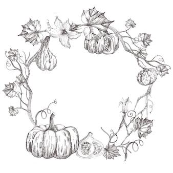 カボチャの花輪。野菜手描きスケッチ