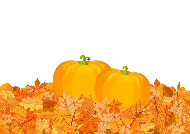 Pumpkins on autumn leaves illustration yellow oak chestnut tree foliage