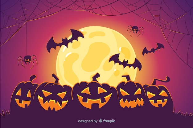 Pumpkins and bats halloween background