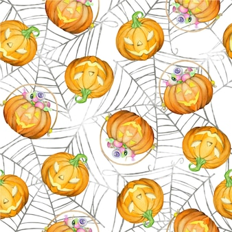 カボチャ、クモの巣。ハロウィーンの休日のための、孤立した背景の水彩画のシームレスなパターン