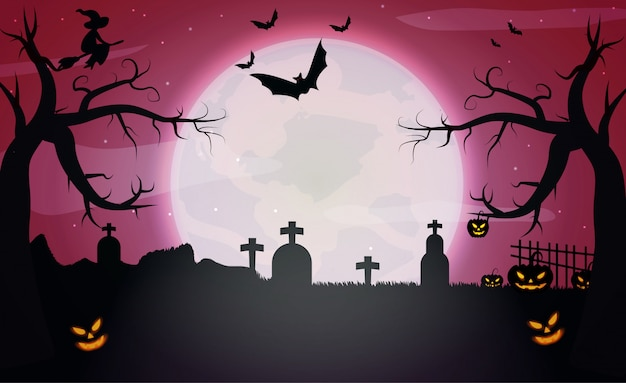 Pumpkins and dark castle on red moon halloween background.