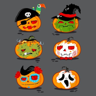 Pumpkins in different costumes vector character set for halloween isolated on background.
