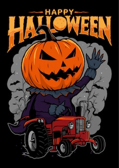 Pumpkins driving a corn tractor, with lettering text happy halloween