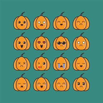 Pumpkins emoticon set