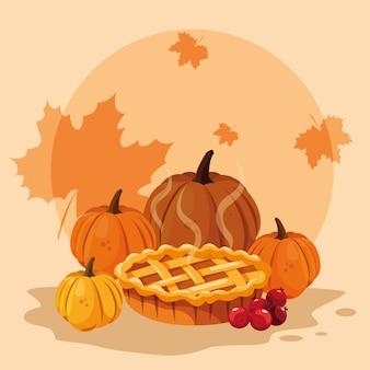 Тыквы на день благодарения с пирогом