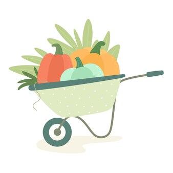 Pumpkins in a garden wheelbarrow vector illustration in scandinavian style