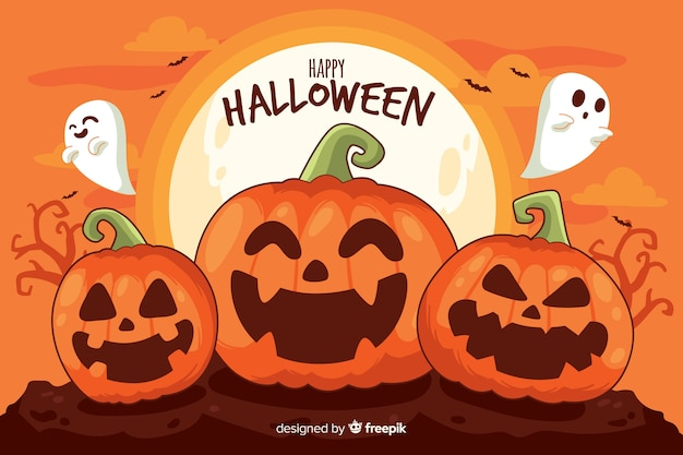 Pumpkins and ghosts halloween background