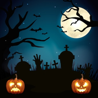 Pumpkins of halloween in the cemetery illustration
