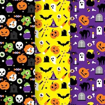 Pumpkins halloween flat design seamless patterns